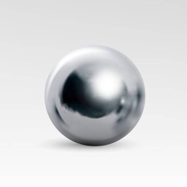 Chrome ball realistic isolated on white background vector art illustration