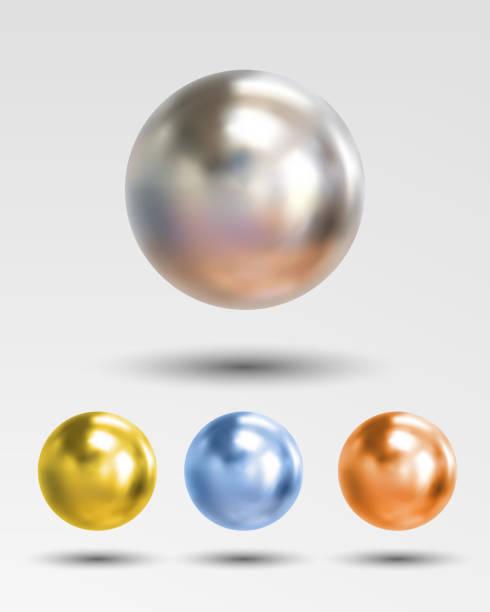 illustrazioni stock, clip art, cartoni animati e icone di tendenza di chrome ball realistic isolated on white background - sfera lucida