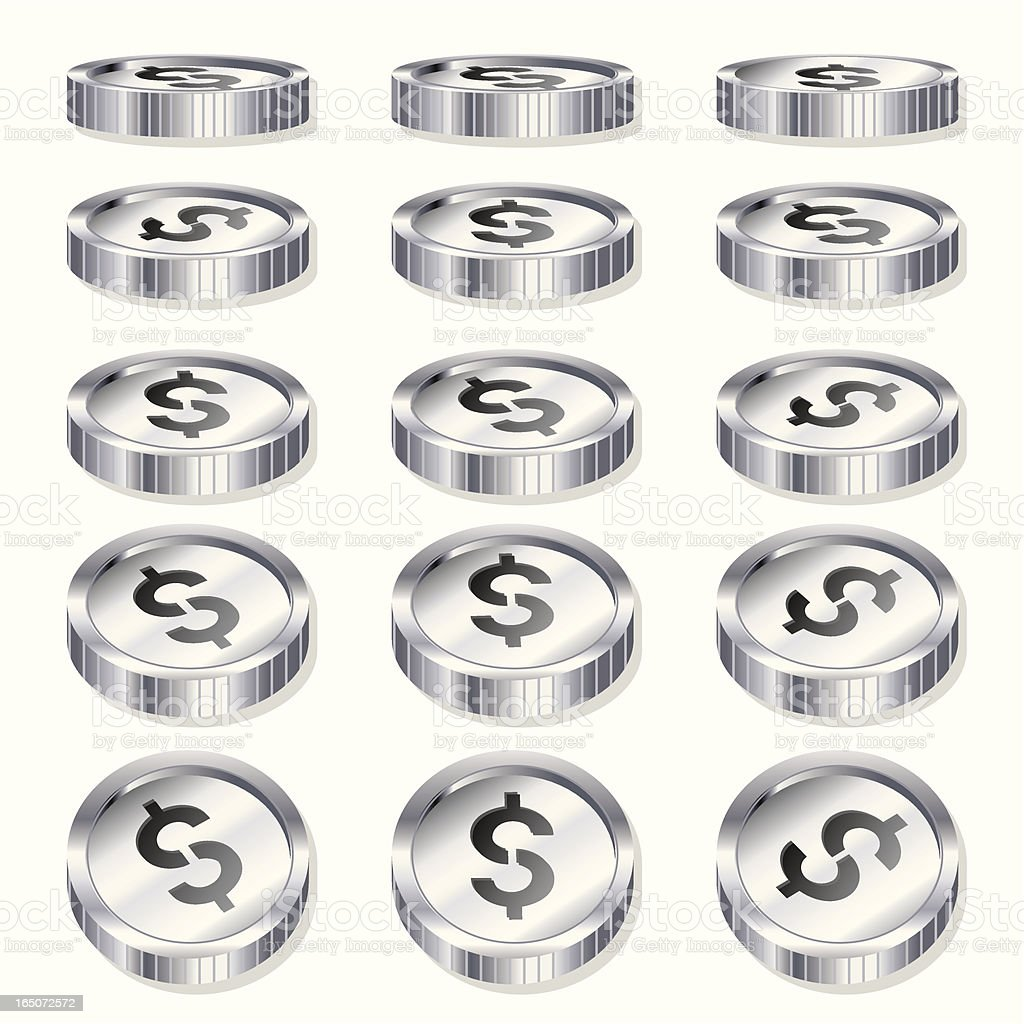 Chrome Coins -Tokens royalty-free stock vector art