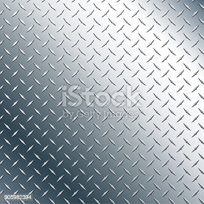 Chrome Diamond plate metal vector graphic background pattern, realistic, with subtle and contrasting shiny reflection tones