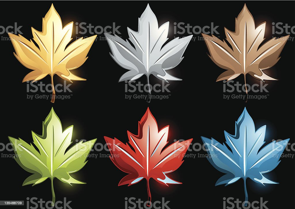 Chrome Maple Leave royalty-free chrome maple leave stock vector art & more images of black background