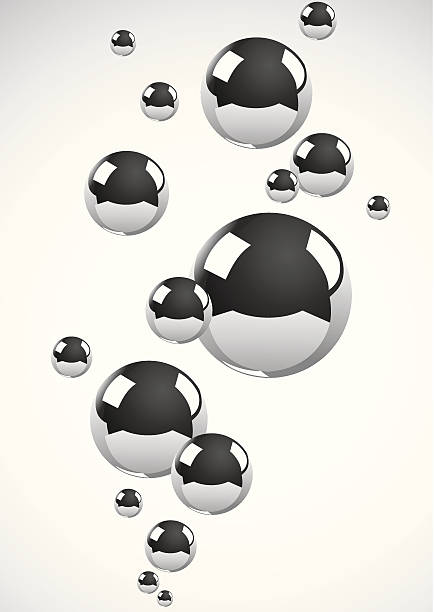 Chrome metal balls floating on off white background Abstract background of a set of metal balls mercury metal stock illustrations