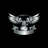 Chrome metal Eagle emblem with ribbon. Heraldic eagle with wings.