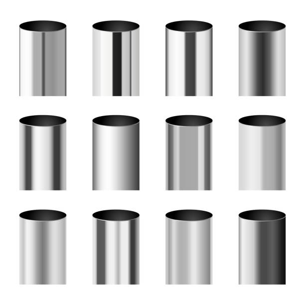 Chrome metal polished gradients corresponding to cylinder pipe vector set Chrome metal polished gradients corresponding to cylinder pipe vector set. Gradient aluminium cylinder illustration collection cylinder stock illustrations