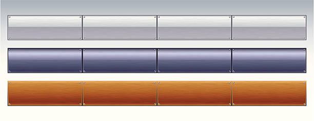 Chrome, Metallic and Wood Tabs vector art illustration