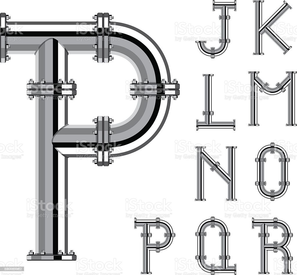 chrome pipe alphabet letters part 2 vector art illustration