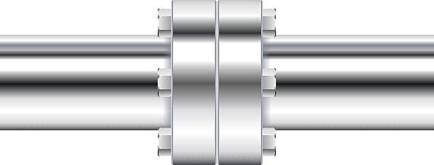 chrome pipe with flange - flange stock illustrations, clip art, cartoons, & icons