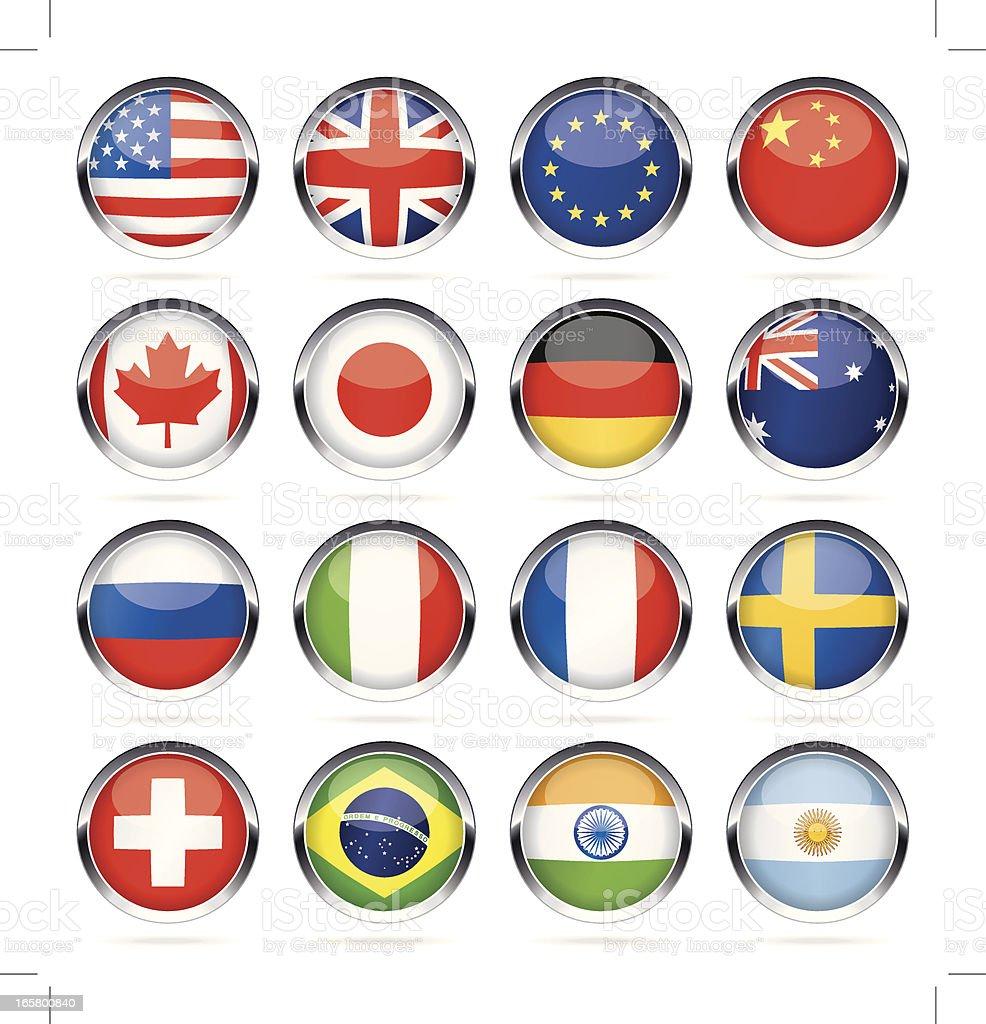クロムラウンド最も人気の国旗のアイコン ベクターアートイラスト
