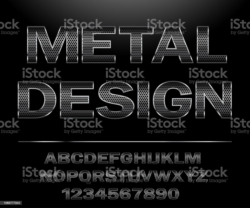 Chrome Steel Grid Font Design For Typography Stock Illustration - Download  Image Now