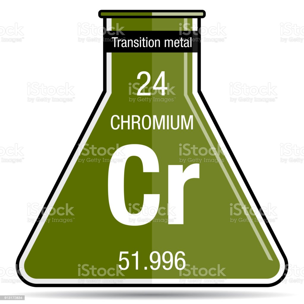 Chromium Symbol On Chemical Flask Element Number 24 Of The Periodic