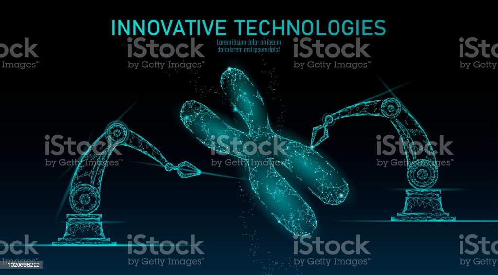 Chromosome DNA structure medicine concept. Low poly polygonal triangle gene therapy cure genetic disease. GMO engineering CRISPR Cas9 innovation modern technology science banner vector illustration Chromosome DNA structure medicine concept. Low poly polygonal triangle gene therapy cure genetic disease. GMO engineering CRISPR Cas9 innovation technology science banner vector illustration art Abstract stock vector