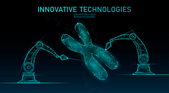 Chromosome Dna Structure Medicine Concept Low Poly Polygonal Triangle Gene Therapy Cure Genetic Disease Gmo Engineering Crispr Cas9 Innovation Modern Technology Science Banner Vector Illustration Stock Illustration - Download Image Now