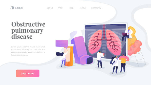 Chronic obstructive pulmonary disease landing page concept Patient suffering from allergic asthma symptoms. Pneumonia treatment. Obstructive pulmonary disease, chronic bronchitis, emphysema concept. Website homepage header landing web page template. cancer patient stock illustrations