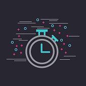 chronometer embellished neon color poster image vector illustration design