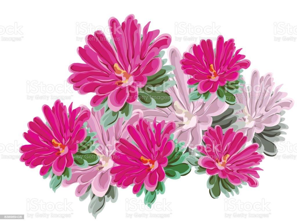 chrysanthemum balcony bouquet vector art illustration