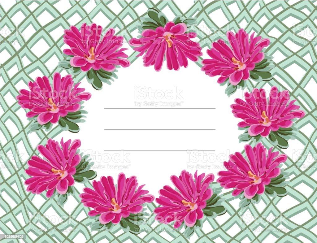 chrysanthemum balkony frame mesh vector art illustration