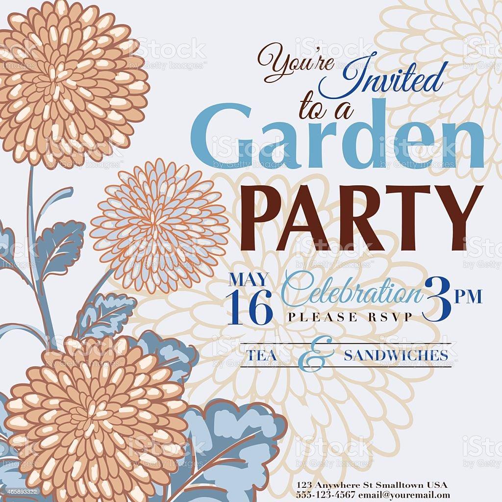chrysanthemum design garden party invitation royalty free chrysanthemum design garden party invitation stock vector art