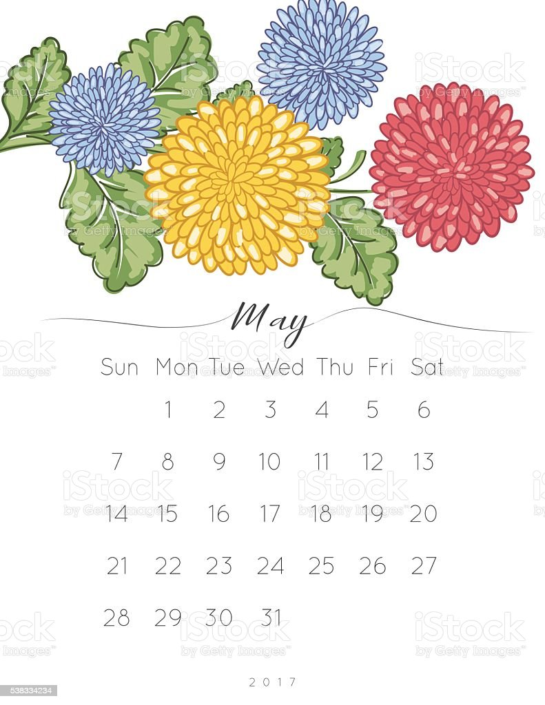 2017 Chrysanthemum Floral Desk Pad Calendar vector art illustration