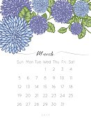 2017 Floral Desk Pad calendar. hand drawn colorful leaves and chrysanthemum flowers.