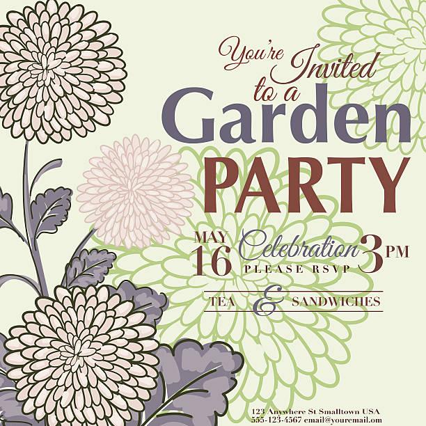 菊のフラワーデザインのガーデンパーティの招待状 - ガーデンパーティ点のイラスト素材/クリップアート素材/マンガ素材/アイコン素材