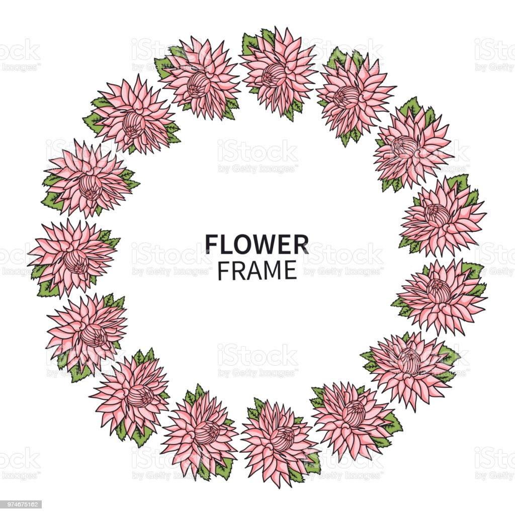 Ilustración De Marco De Flores De Crisantemo Guirnalda
