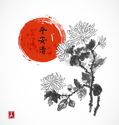 Chrysanthemum flowers and red sun. Traditional oriental ink painting sumi-e,