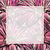 Chrysanthemum Flowers Frame Pen and Ink Vector Watercolor Illustration