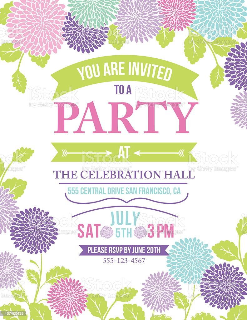 Chrysanthemum Flowers Invitation Template for Garden Party or Celebration vector art illustration
