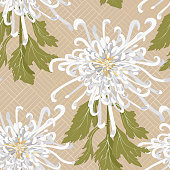 Chrysanthemum is the national flower of Japan. Seamless floral pattern with white chrysanthemum on a beige background with a gold ornament on backdrop. Stock vector illustration