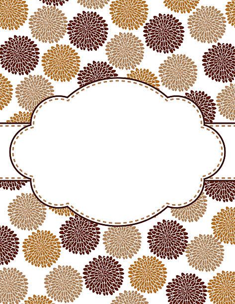 Chrysanthemum Oval Design Frame Template Stock Vector Art 465765586