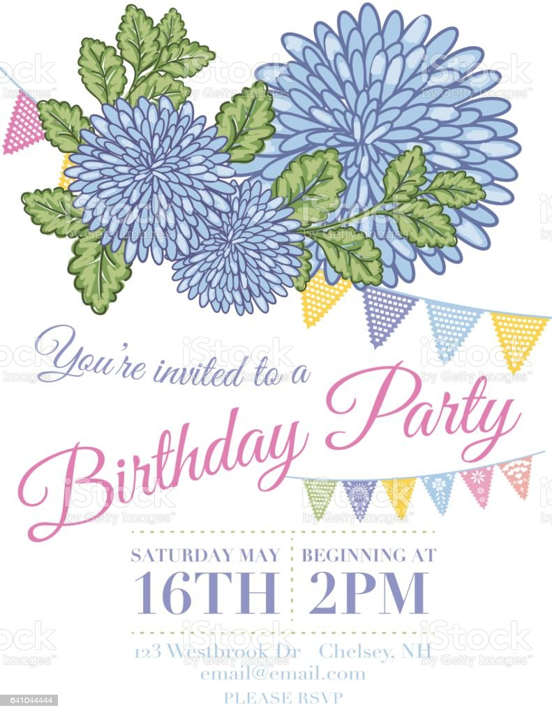 Chrysanthemum Papel Picado Flags Birthday Invitation Template Stock Illustration