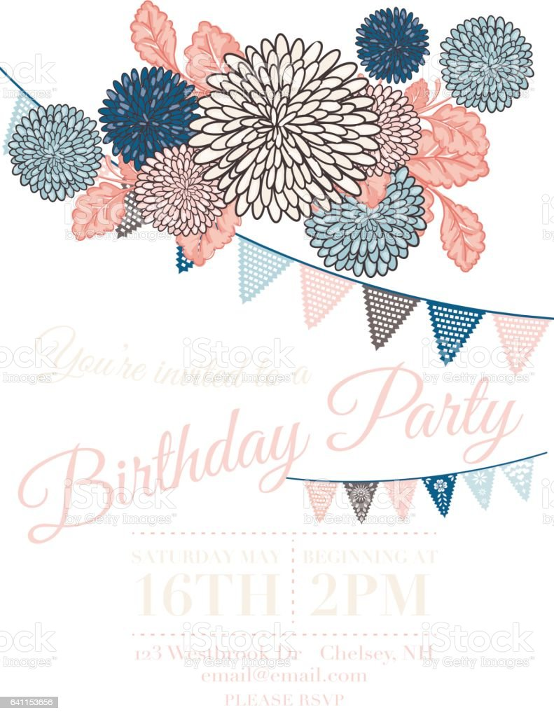 Chrysanthemum Papel Picado Flags Birthday Invitation Template Royalty Free  Chrysanthemum Papel Picado Flags Birthday Invitation  Birthday Invitation Backgrounds
