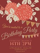 Chrysanthemum Papel Picado Flags Birthday invitation template. Below the mums and flowers is text with a smaller set of bunting flags.