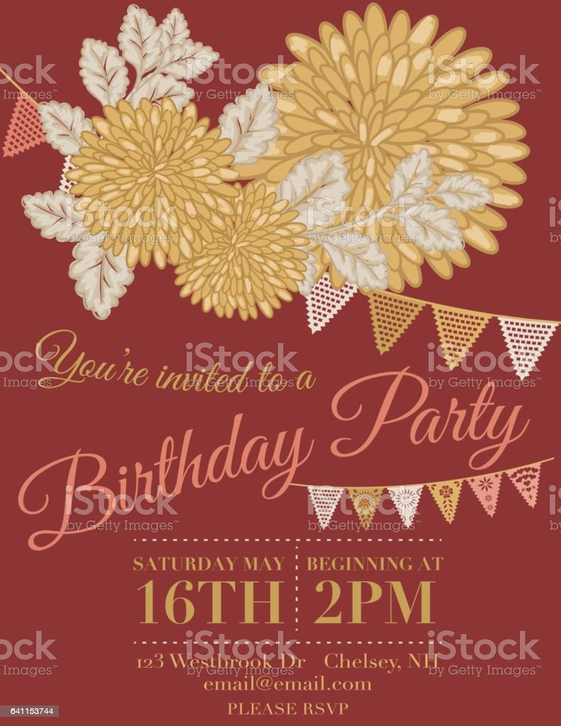 Chrysanthemum Papel Picado Flags Birthday Invitation Template Stock
