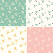 Chrysanthemum seamless pattern set. Global colors used - easy to change color.
