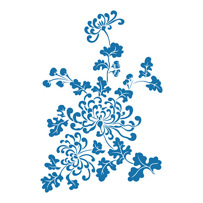 Chrysanthemum,Chinese traditional floral pattern