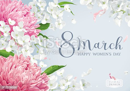 istock Chrysanthemums and Apple blossom for 8 March vector greeting card 917538030