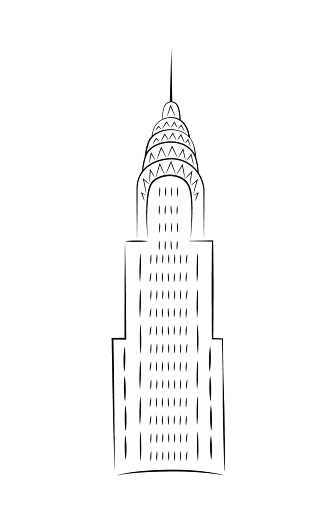 Chrysler Building By Day In Minimalist Style Vector Illustration Doodle In Black And White Stock ...