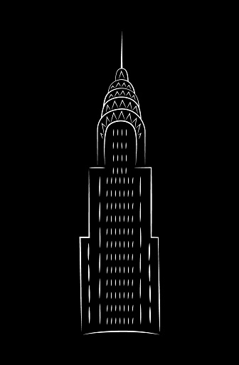 Chrysler building by night in minimalist style. Vector, illustration, doodle in black and white.