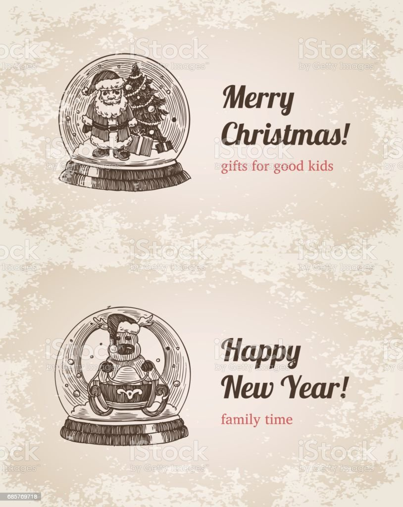 Chrystal call Santa elk set New Year handdrawn engraving style template postcard poster banner print. Web site pen pencil crosshatch hatching paper painting retro vintage vector lineart illustration. vector art illustration