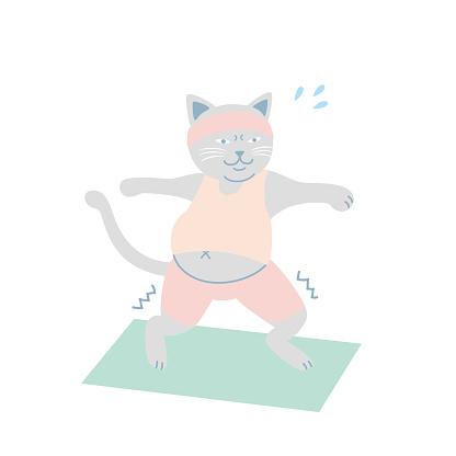 Chubby body cat practicing Yoga vector illustration