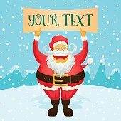 Chubby Funny Santa Claus Holding Sign