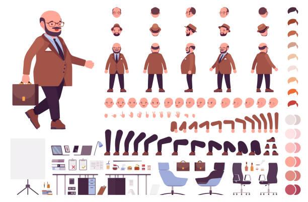 pulchny ciężki biznesmen z okrągłym zestawem do budowy brzucha - grupa przedmiotów stock illustrations