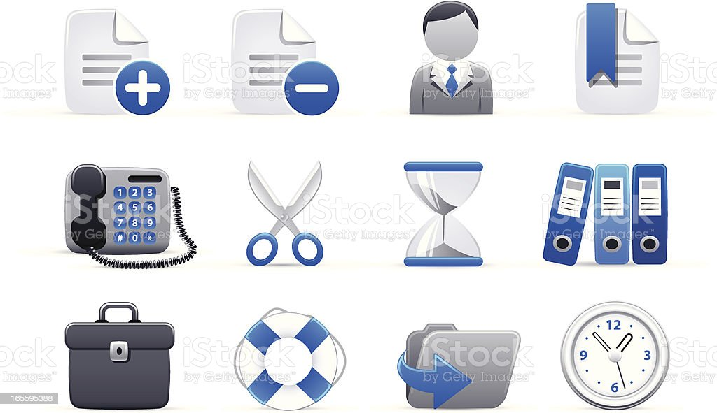 chubby icons SilverBlue royalty-free stock vector art