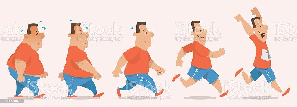 Chubby man turning into athlete vector art illustration