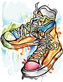 Fantasy shoes, drawing with GRAPHIC TABLET; only one layer; no opening paths; with big JPEG (300dpi); image shows chucks-free created