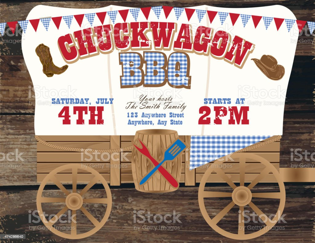 chuckwagon bbq country and western invitation design
