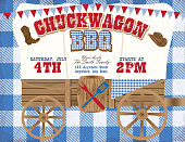 Vector illustration of a country western barbecue chuckwagon themed barbecue invitation design template on a blue checkered  background. Features covered chuckwagon, cowboy hat, boots, and sample text layout design. Easily customize text with layers. Perfect for summer barbecue event, picnic celebration, backyard bbq, private or corporate party, birthday party, fun family event gathering, potluck.