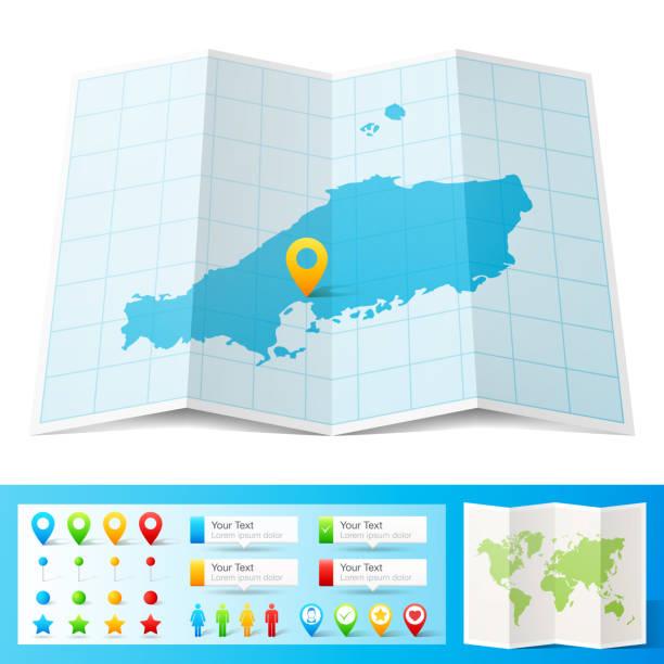 chugoku 地圖,位置引腳在白色背景上隔離 - hiroshima 幅插畫檔、美工圖案、卡通及圖標