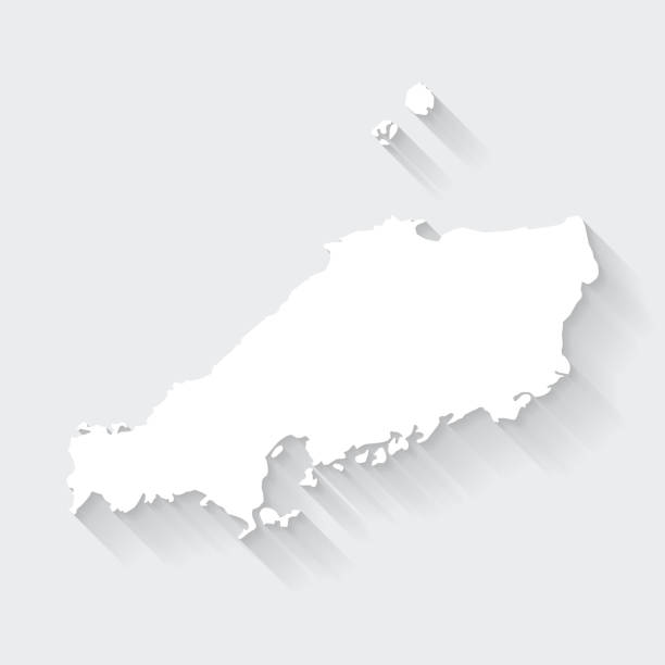 空白背景上長影的楚戈庫地圖 - 平面設計。 - hiroshima 幅插畫檔、美工圖案、卡通及圖標